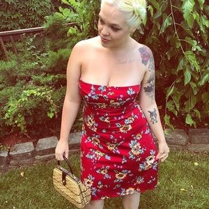 Red strapless floral dress pinup